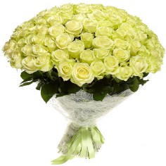 101 белая роза Аваланж высота 60 см