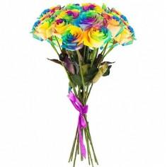 15 радужных свежих роз